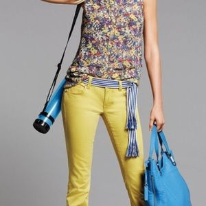 CAbi Citron Yellow Curvy Skinny Jeans